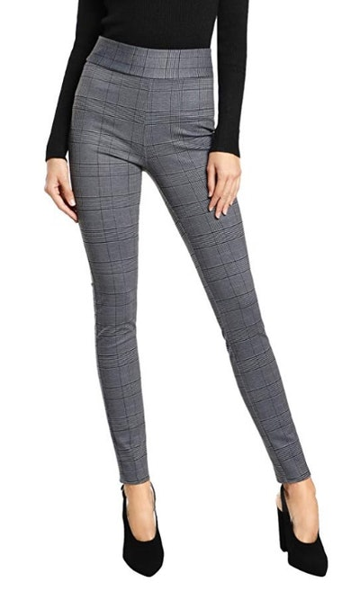 SweatyRocks Women's Casual Plaid Leggings