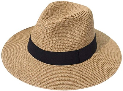 Lanzom Women Wide Brim Straw Hat