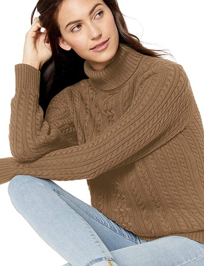 Amazon Essentials Women's Cable Turtleneck Sweater