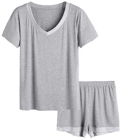 Latuza Women's V-Neck Sleepwear Pajama Set