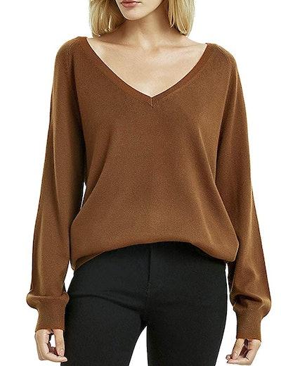 Kallspin Women's Deep V Neck Cashmere Sweater
