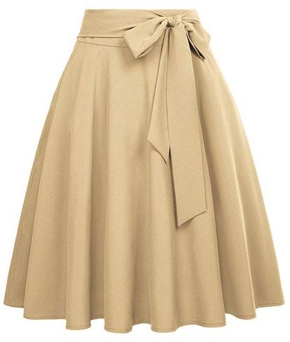 Belle Poque Women's High Waist A-Line Pockets Skirt