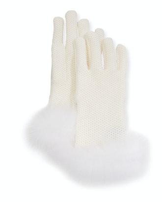 Winter Crochet Cashmere Gloves w/ Fox Fur Trim