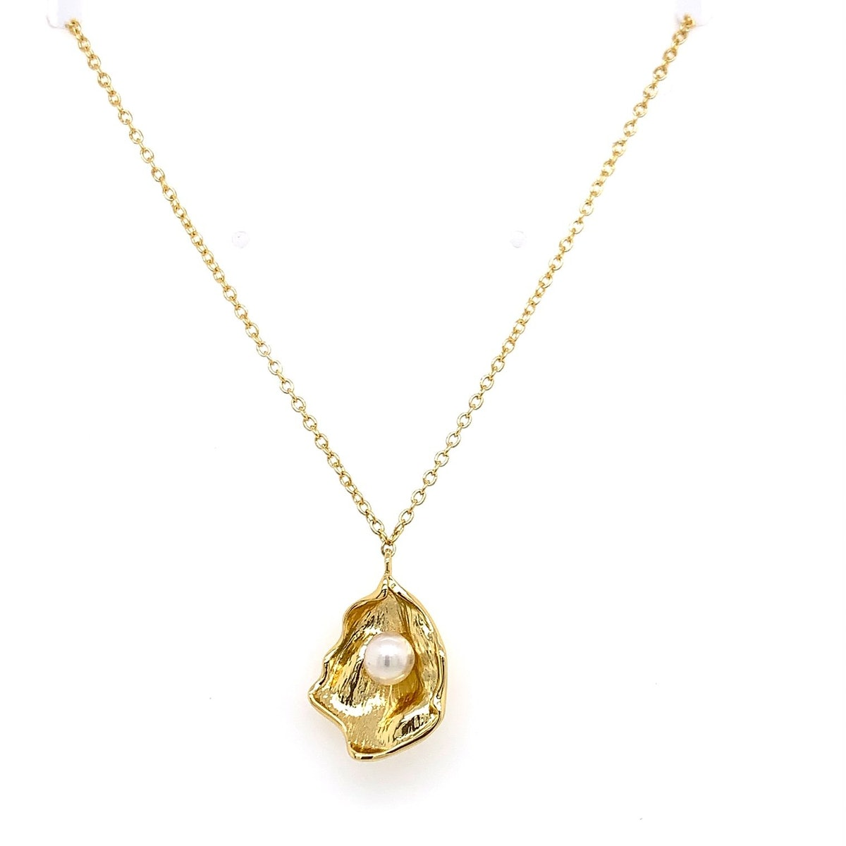 Gold Shell Necklace with Freshwater Pearl Accent