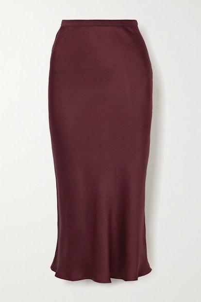 Bar Silk-Satin Midi Skirt