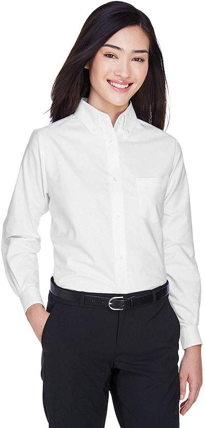 UltraClub Women's Wrinkle-Free Long Sleeve Oxford Shirt