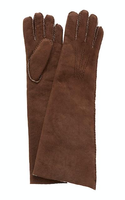 Fleece-Trimmed Shearling Gloves