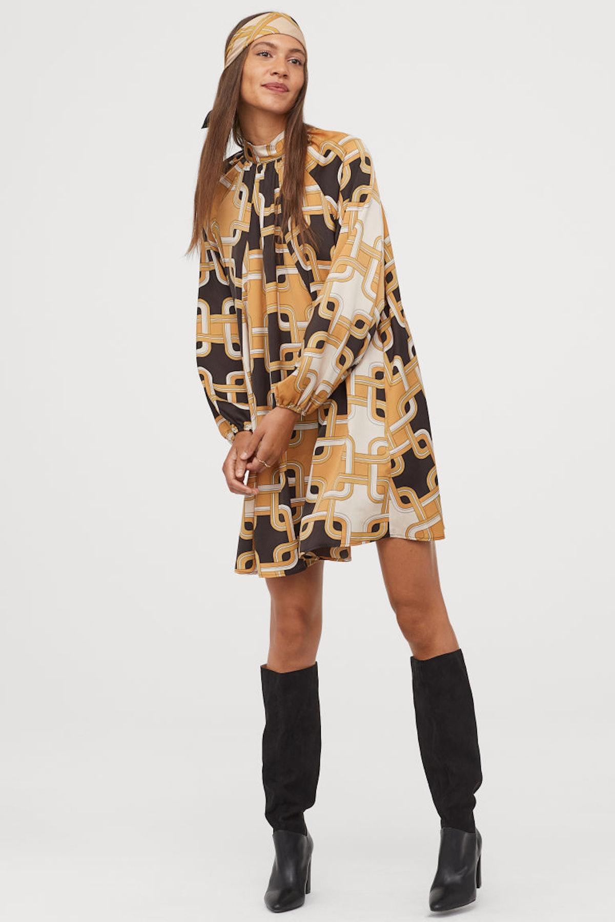H&M Stand-Up Collar Satin Dress