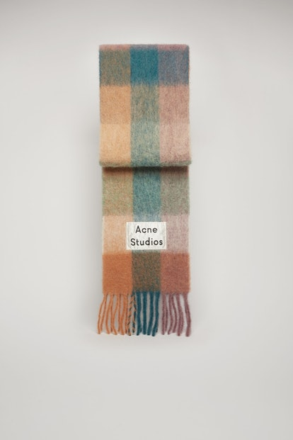Multi check scarf teal blue/lilac