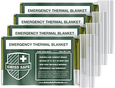 Swiss Safe Emergency Mylar Thermal Blankets (4-pack)