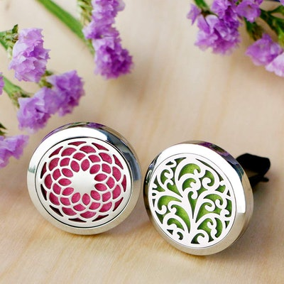 RoyAroma 30mm Car Aromatherapy Essential Oil Diffuser Stainless Steel Locket with Vent Clip (2-Pack)