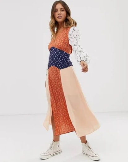 ASOS Glamorous Midaxi Dress With Front Splits In Mix And Match Print