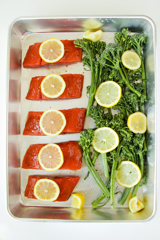 sheet pan salmon and broccolini pre-cooked
