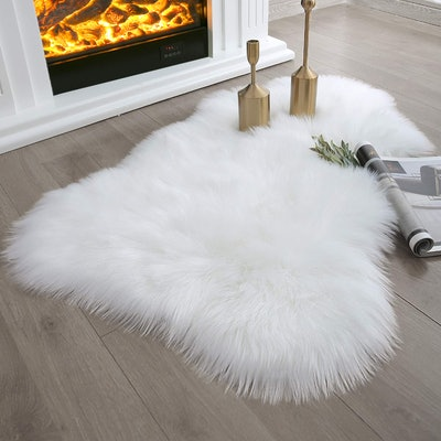 Ashler Soft Faux Sheepskin Fur White Area Rug