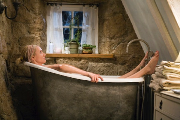 Cameron Diaz relaxes in a bathtub in an English cottage in a scene from 'The Holiday.'
