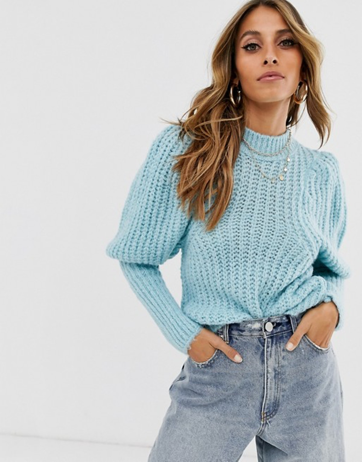 ASOS DESIGN Chunky Rib Balloon Sleeve Sweater