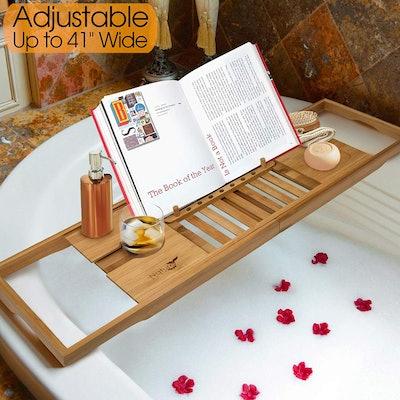 Nature Gear Wood Bamboo Luxury Bath Caddy