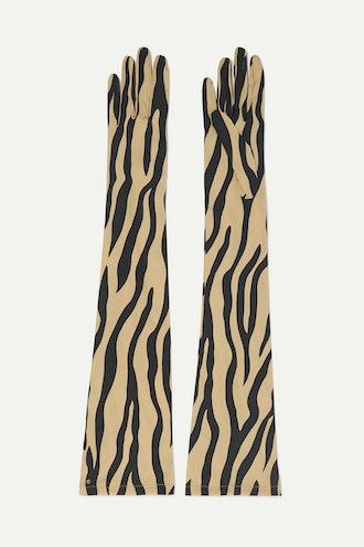 Zebra-Print Stretch-Silk Twill Gloves