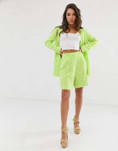 ASOS Design Linen Suit Mom Shorts In Lime Pop