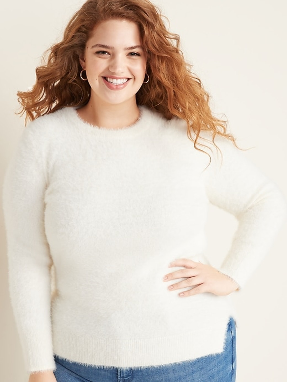 Plus-Size Cozy Eyelash Sweater