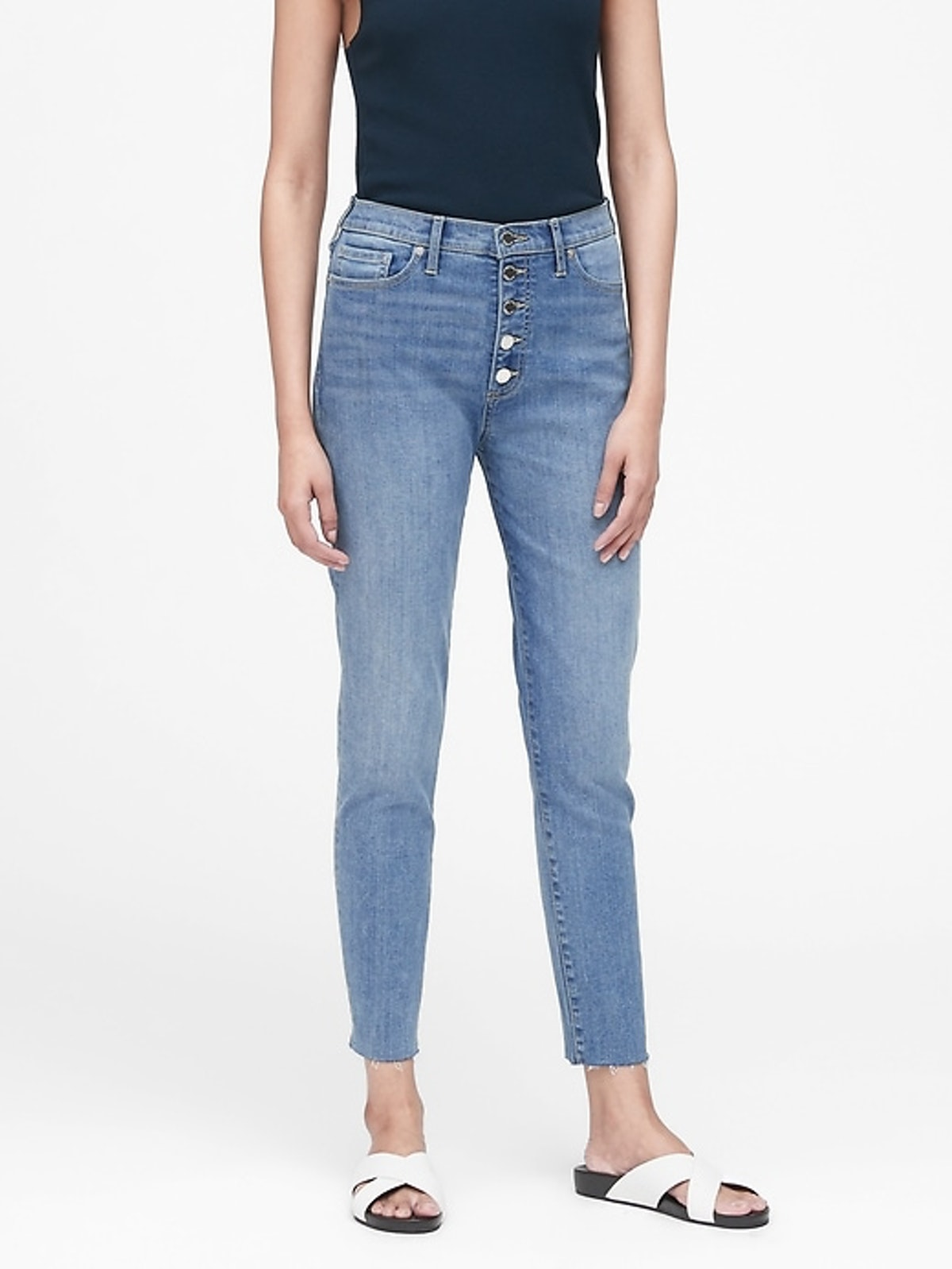 """High-Rise Skinny Button-Fly Jean in """"Indigo"""""""