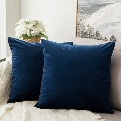 Velvet Decorative Square Throw Pillow Covers (2-Pack)