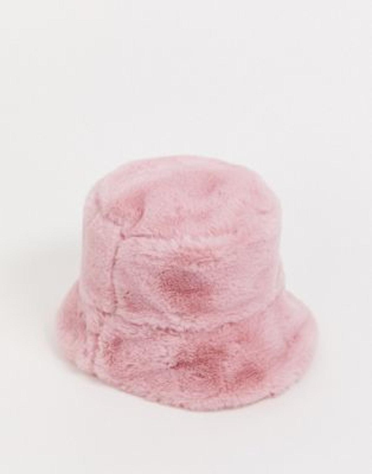 Faux Fur Bucket Hat In Pink