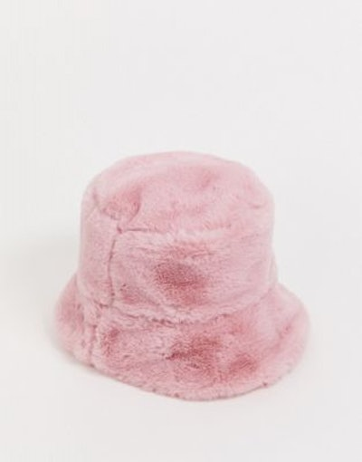 Faux Fur Bucket Hat In Pink