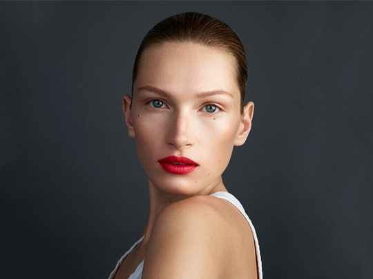 Westman Atelier's new Lip Suede on model.