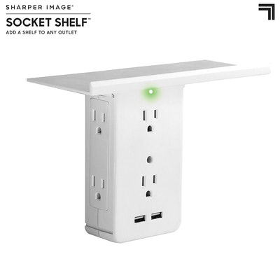 Allstar Innovations 8-Port Surge Protector Wall Outlet With Shelf