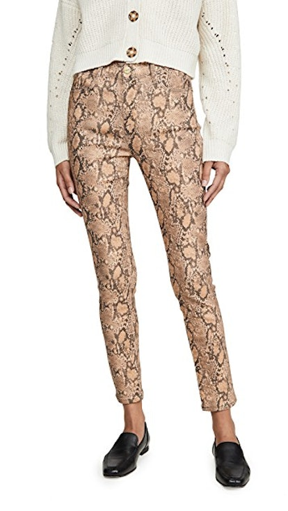 Le High Skinny Crop Coated Python Jeans