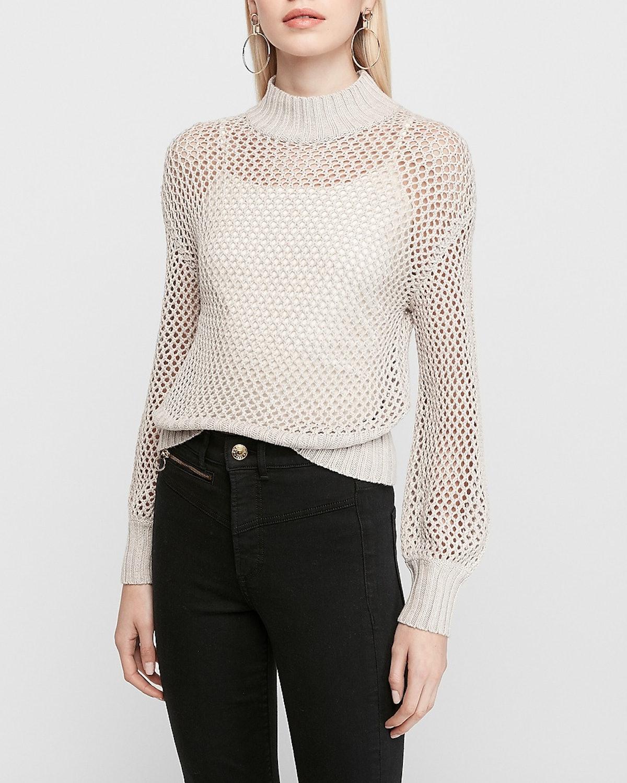 Mock Neck Open Stitch Sweater