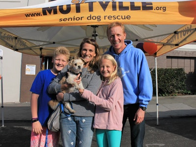 a family adopting an older dog at a shelter