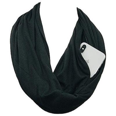 Shop Pop Fashion Infinity Scarf with Zipper Pocket