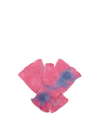 Tie Dye Fingerless Cashmere Gloves
