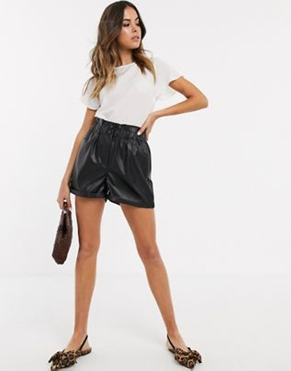 New Look Paperbag Leather Look Shorts