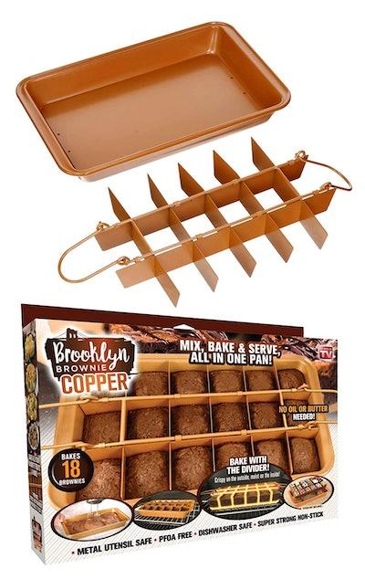Gotham Steel Brooklyn Brownie Copper Nonstick Baking Pan With Built-In Slicer