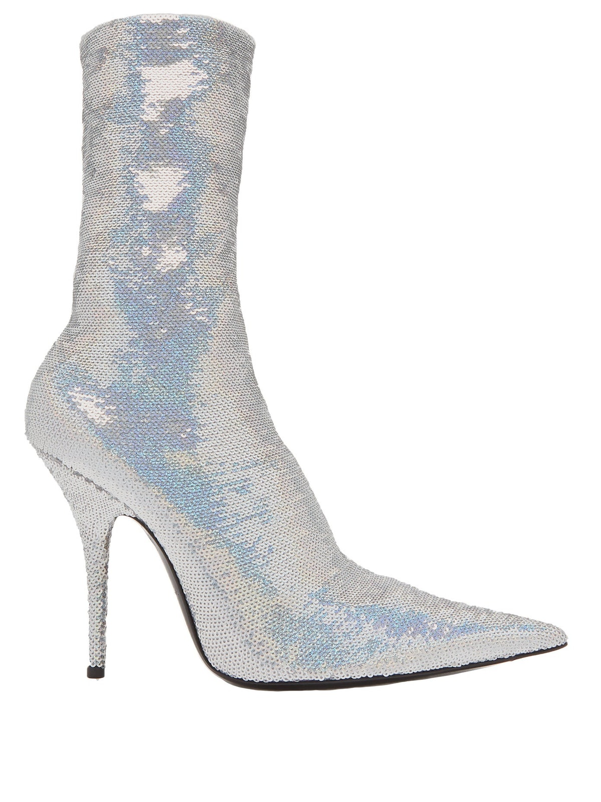 Iridescent Silver Sequin-Embroidered Knife Bootie