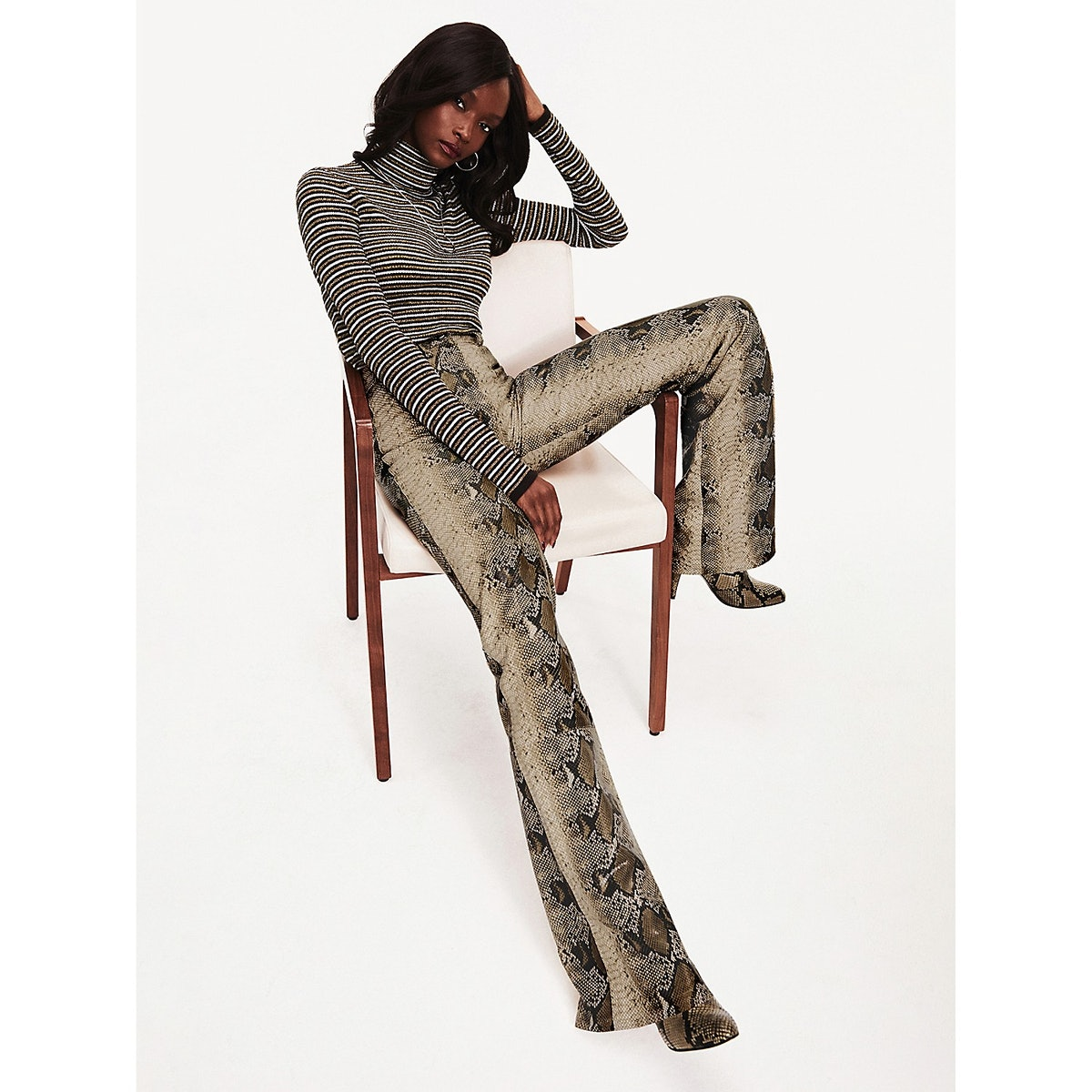 Zendaya Snake Print Leather Trousers
