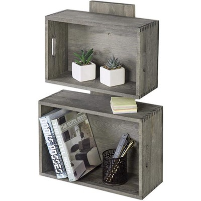 Vintage Gray Wood Crate Style Wall Mounted Floating Shelves