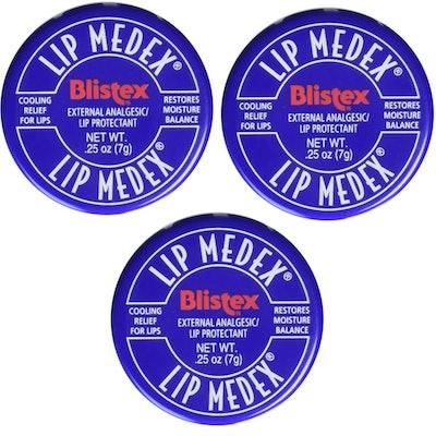 Blistex Lip Medex Cooling Relief for Sore Lips & Moisture 0.25 oz Each (3 Jars)