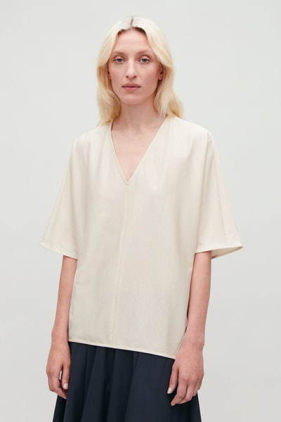 Kimono-Shape Sleeve V-Neck Top