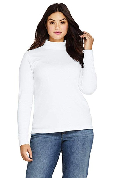 Lands' End Women's Relaxed Cotton Long Sleeve Mock Turtleneck