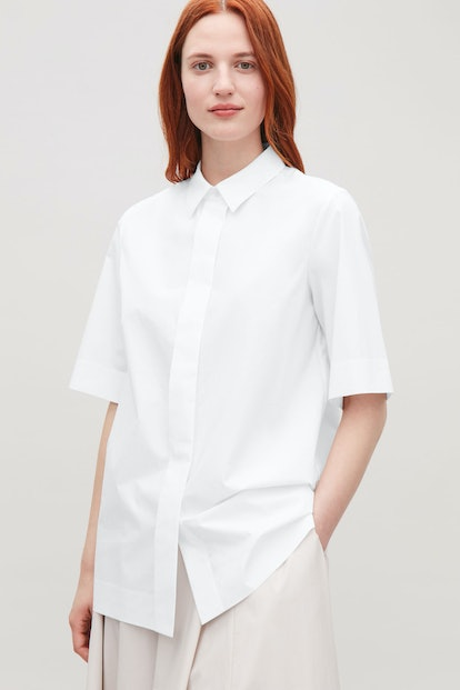 Concealed Button Short-Sleeved Shirt