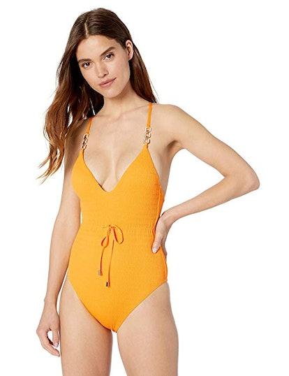 Deep Plunge V-Neck One Piece Swimsuit
