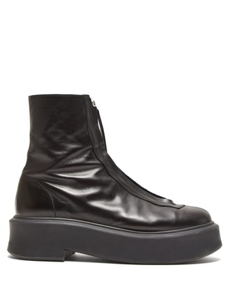 Zip-Front Leather Ankle Boots