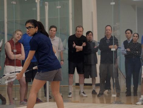 Marisol plays squash in Little America.