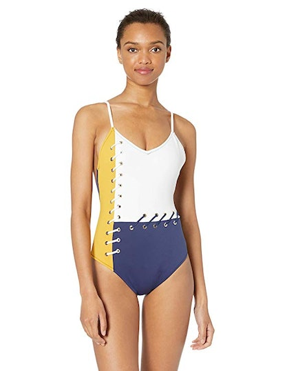 Laced Back One Piece Swimsuit