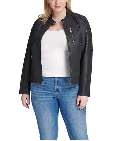 Levi's Size Women's Faux-Leather Quilted Racer Jacket