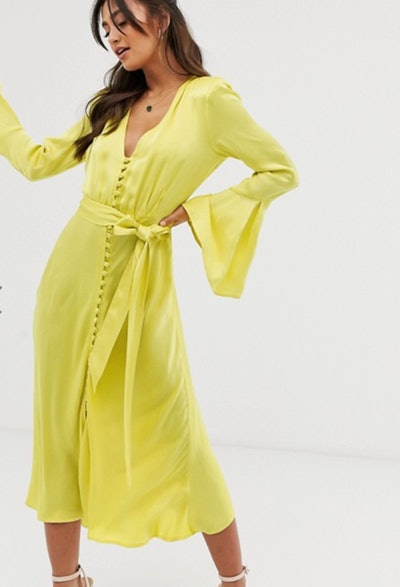 Ghost annabelle satin button front midi dress